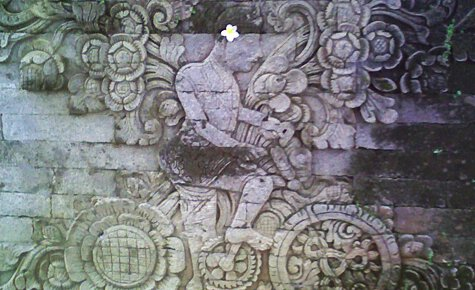 Temple carving seen on pedalers bike tour