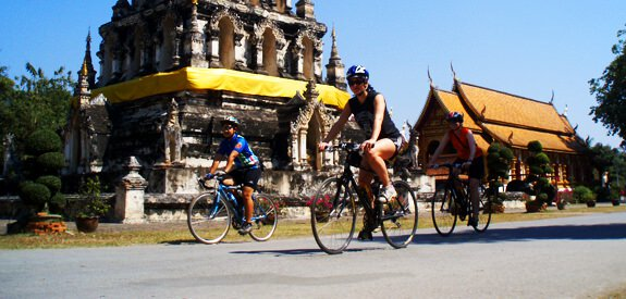 Cycling past Wat Chedi Liam